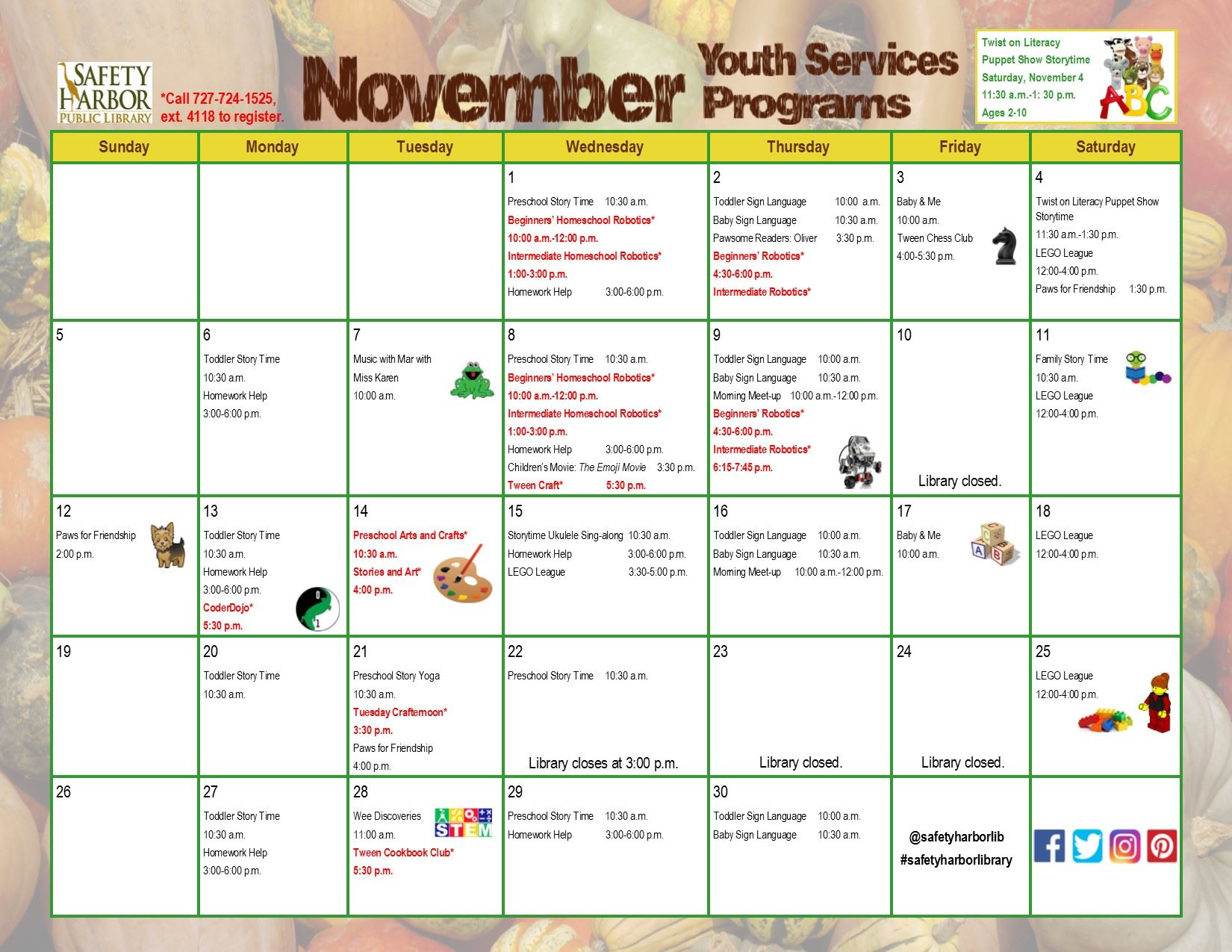 November 2017 Youth Services Calendar, front