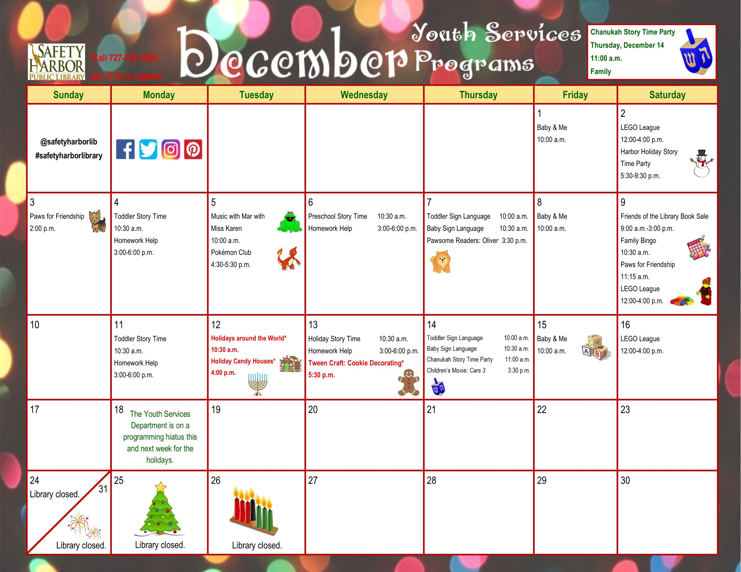 December 2017 Youth Services Calendar, Page 1